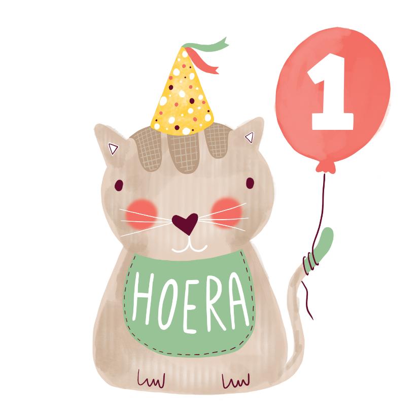 Verjaardagskaarten - Felicitatiekaart verjaardag kat groen en bruin