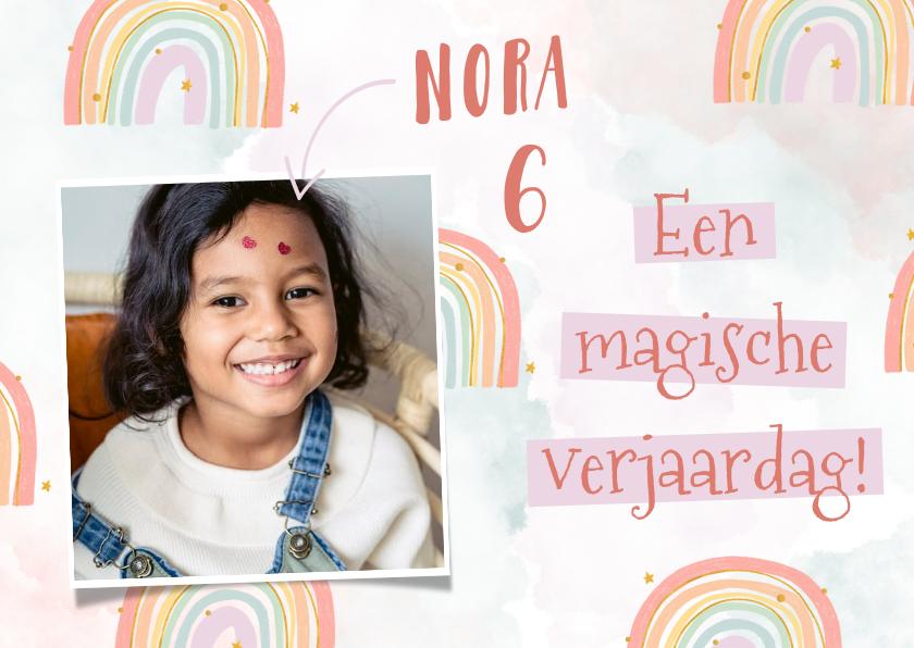 Verjaardagskaarten - Felicitatiekaart verjaardag met regenboogjes en waterverf
