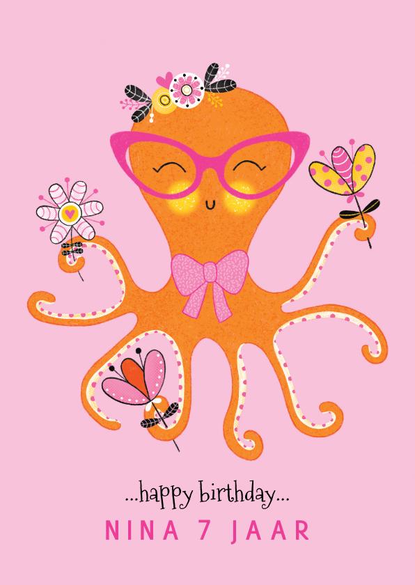 Verjaardagskaarten - Felicitatiekaart verjaardag octopus bloemen roze