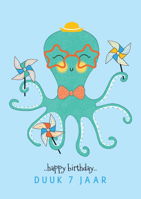 Verjaardagskaarten - Felicitatiekaart verjaardag octopus molentjes mint