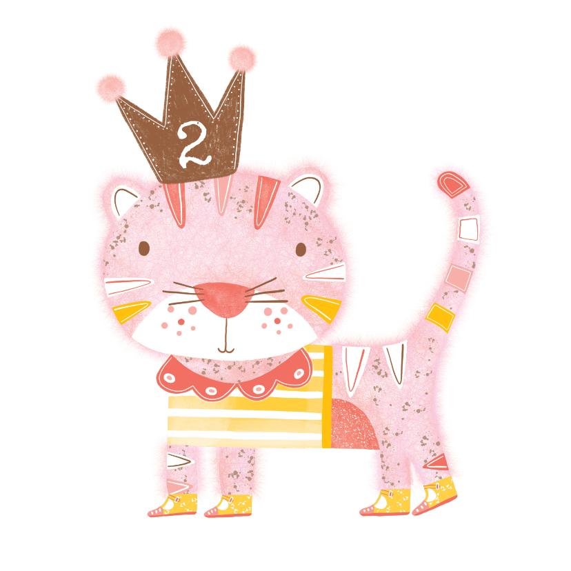 Verjaardagskaarten - Felicitatiekaart verjaardag roze kat kroon