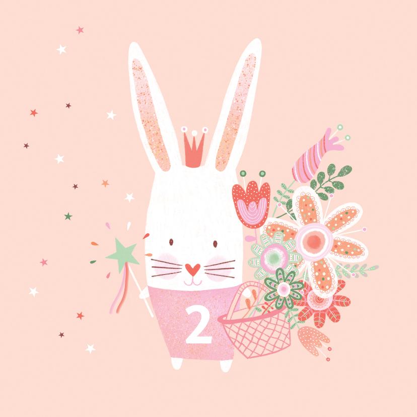 Verjaardagskaarten - Felicitatiekaart verjaardag roze konijn kroon