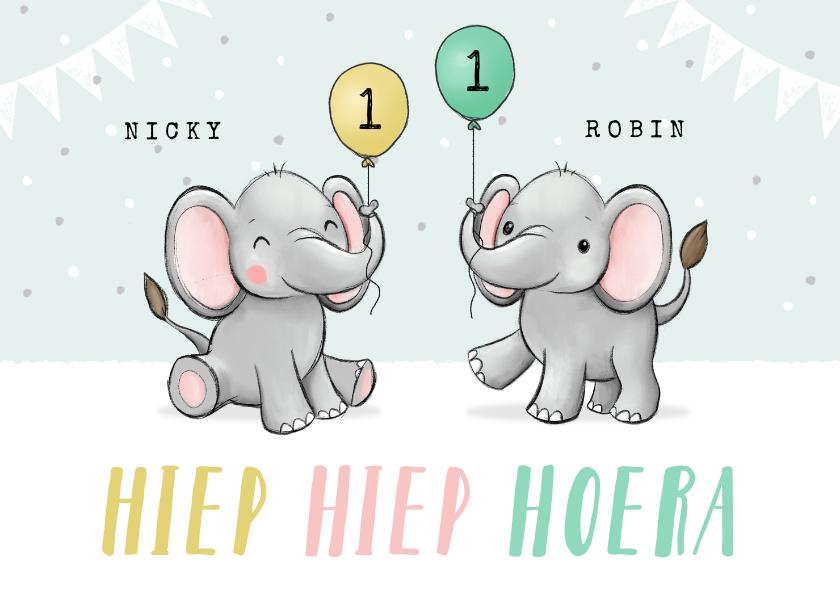 Verjaardagskaarten - Felicitatiekaart verjaardag tweeling olifantjes feestelijk