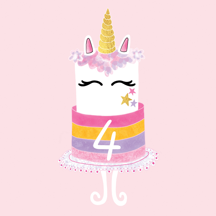 Verjaardagskaarten - Felicitatiekaart verjaardag unicorn taart roze / goud - MW