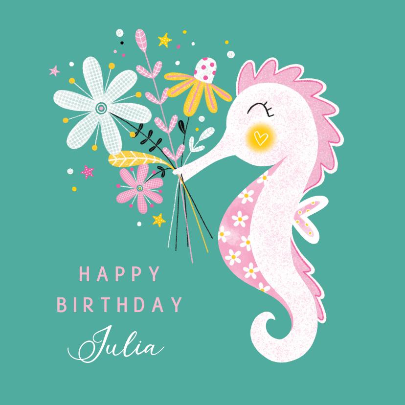 Verjaardagskaarten - Felicitatiekaart verjaardag zeepaardje bloemen groen