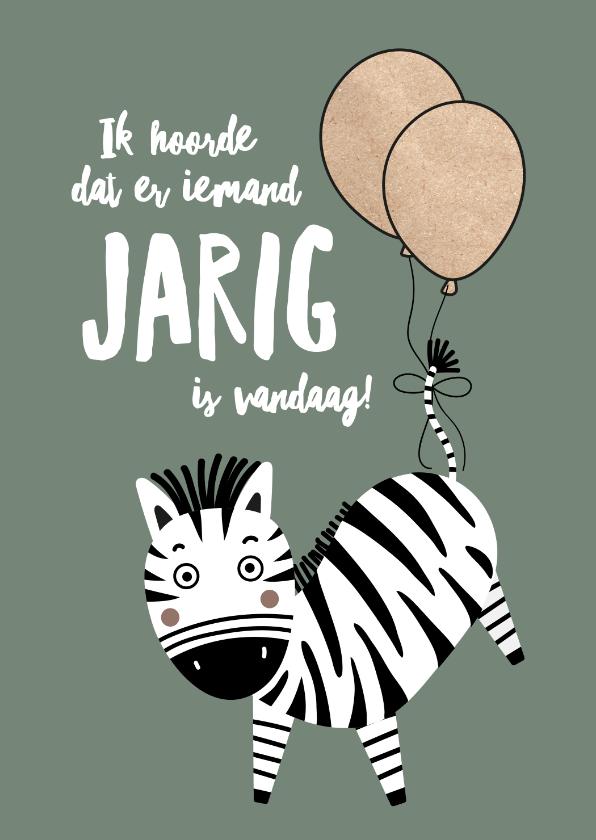 Verjaardagskaarten - Felicitatiekaart zebra ballonnen