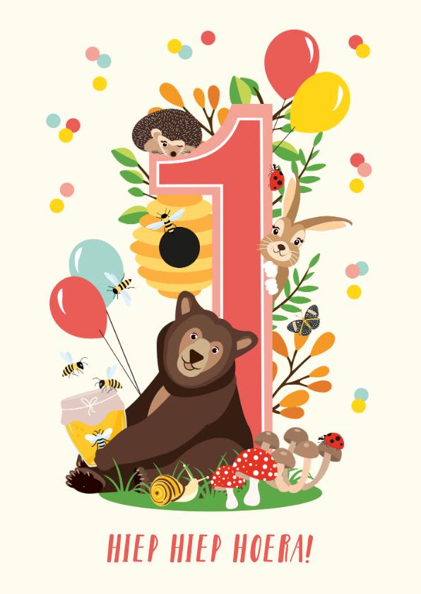 Verjaardagskaarten - Felicitatiekaartje 1 jaar met vrolijke bosdieren in roze