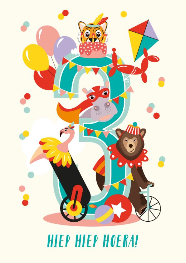 Verjaardagskaarten - Felicitatiekaartje 3 jaar met vrolijke circusdieren