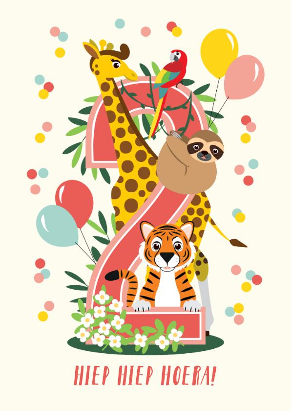 Verjaardagskaarten - Felicitatiekaartje vrolijke jungle dieren 2 jaar in roze