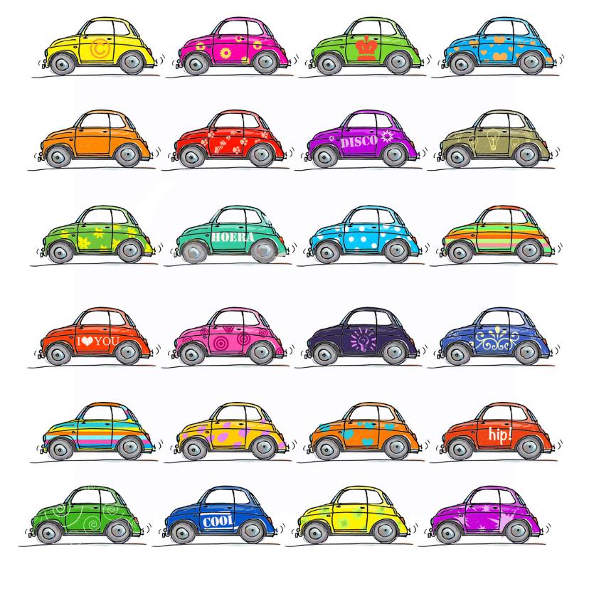 Verjaardagskaarten - Fiat 500 kaart kleurrijk 24