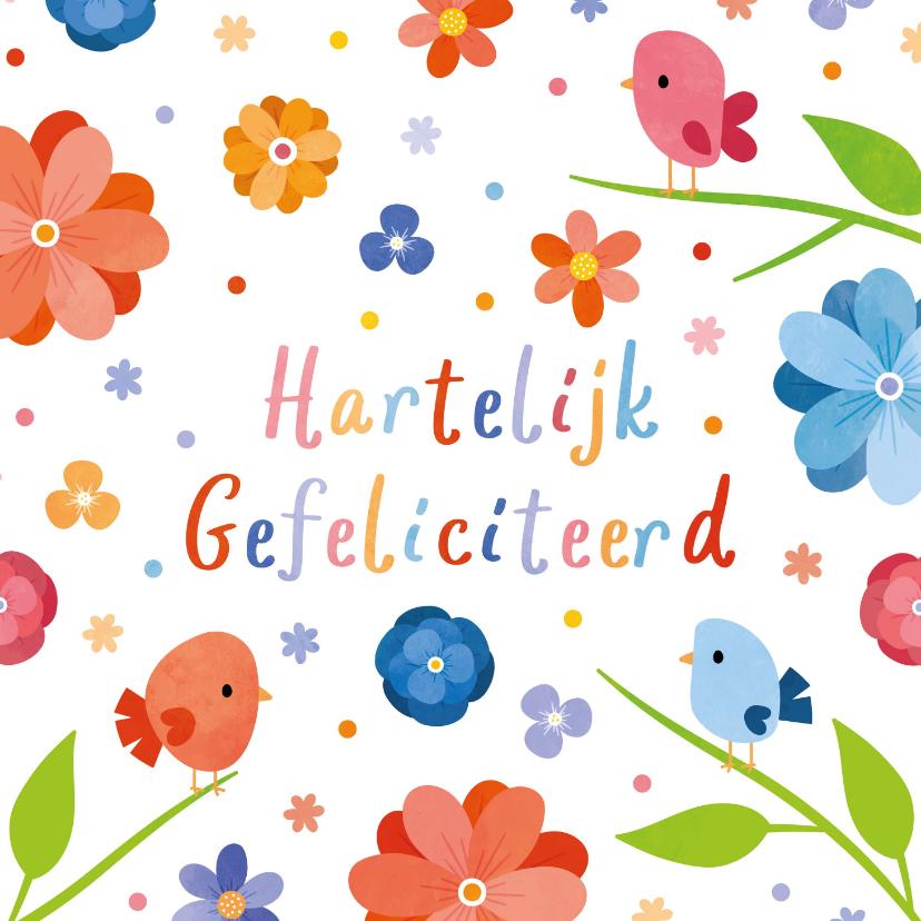 Verjaardagskaarten - Fleurige verjaardagskaart met vogels en bloemen