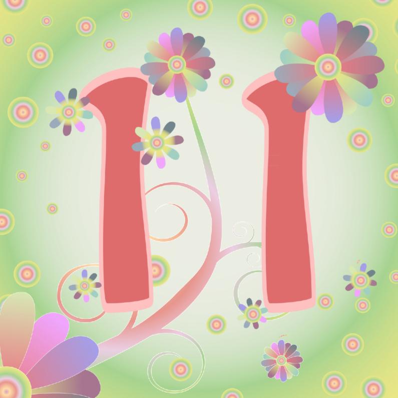 Verjaardagskaarten - flowerpower-11jaar