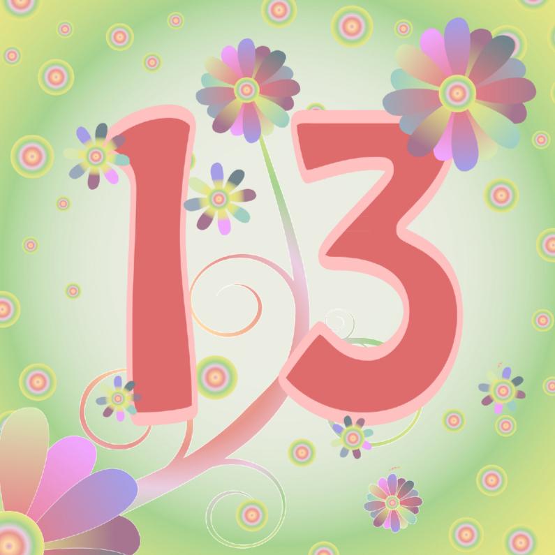 Verjaardagskaarten - flowerpower-13jaar