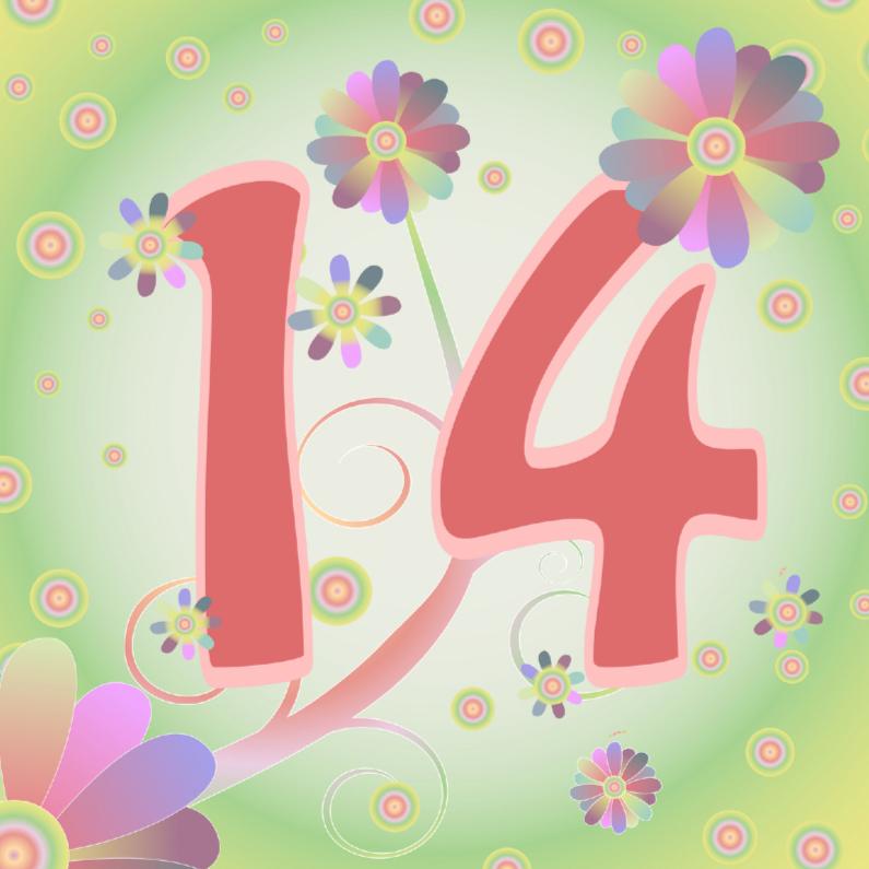 Verjaardagskaarten - flowerpower-14jaar