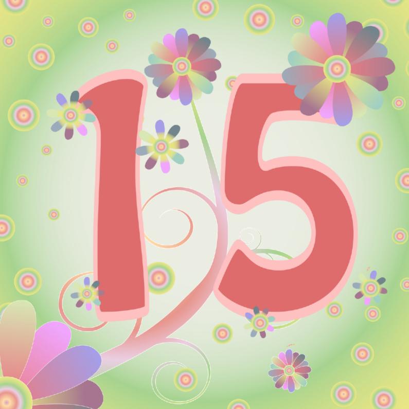 Verjaardagskaarten - flowerpower-15jaar