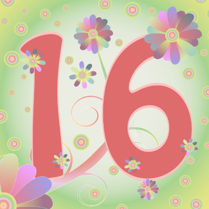 Verjaardagskaarten - flowerpower-16jaar