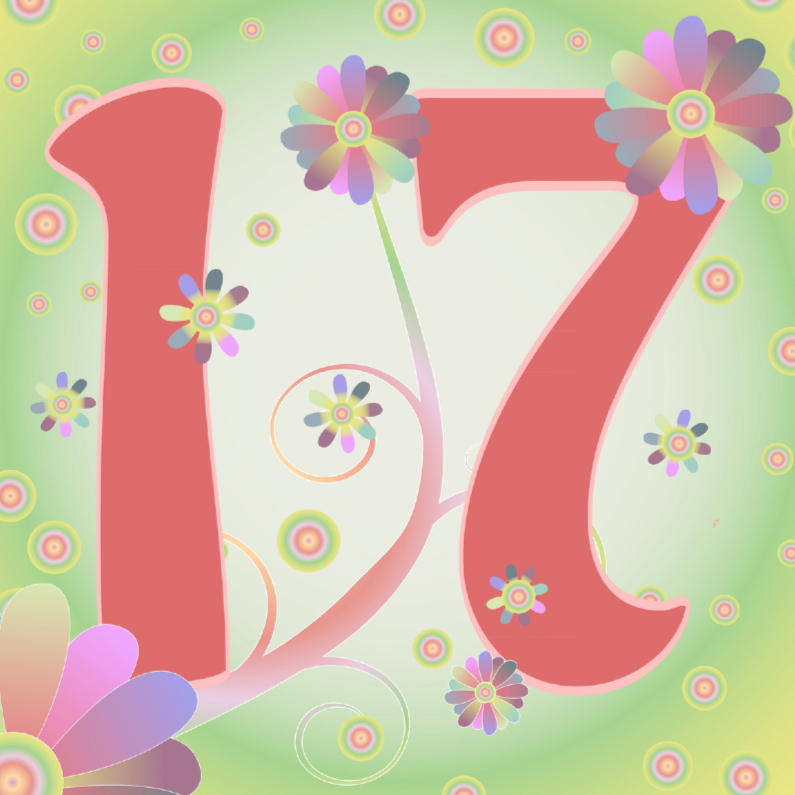 Verjaardagskaarten - flowerpower-17jaar