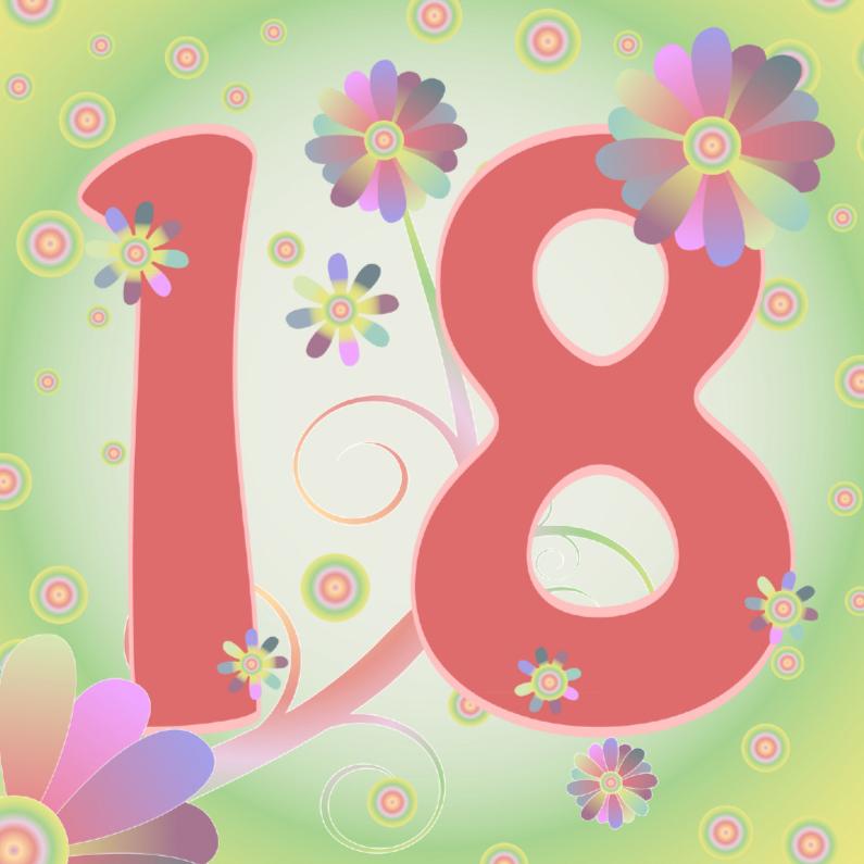 Verjaardagskaarten - flowerpower-18jaar