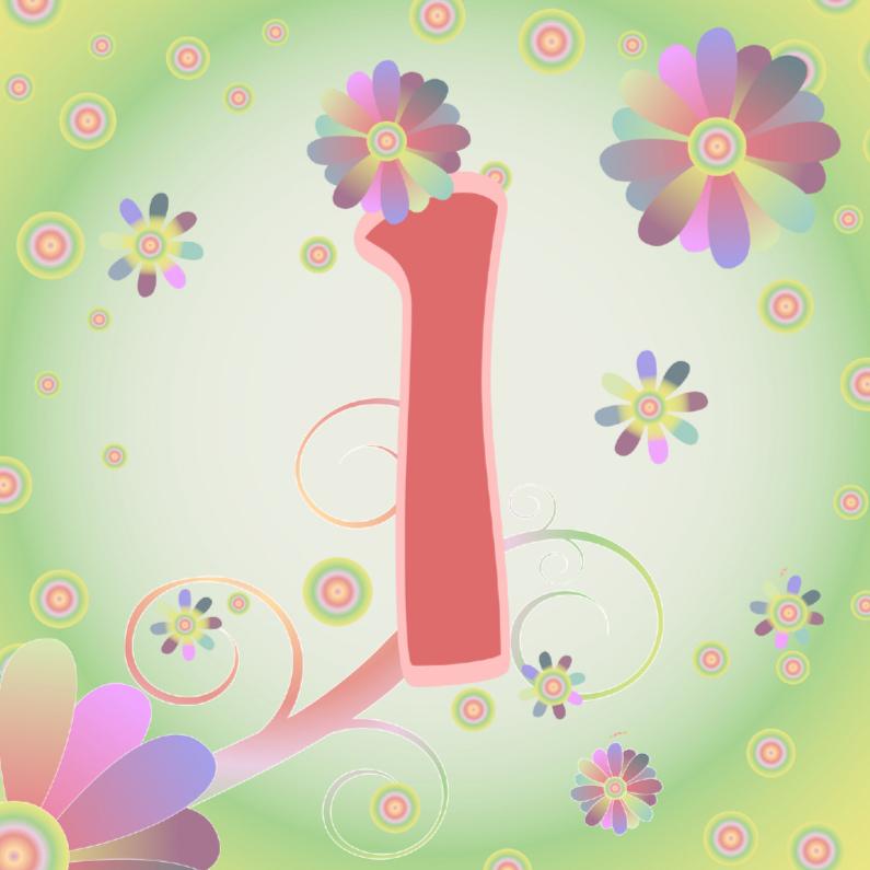 Verjaardagskaarten - flowerpower-1jaar