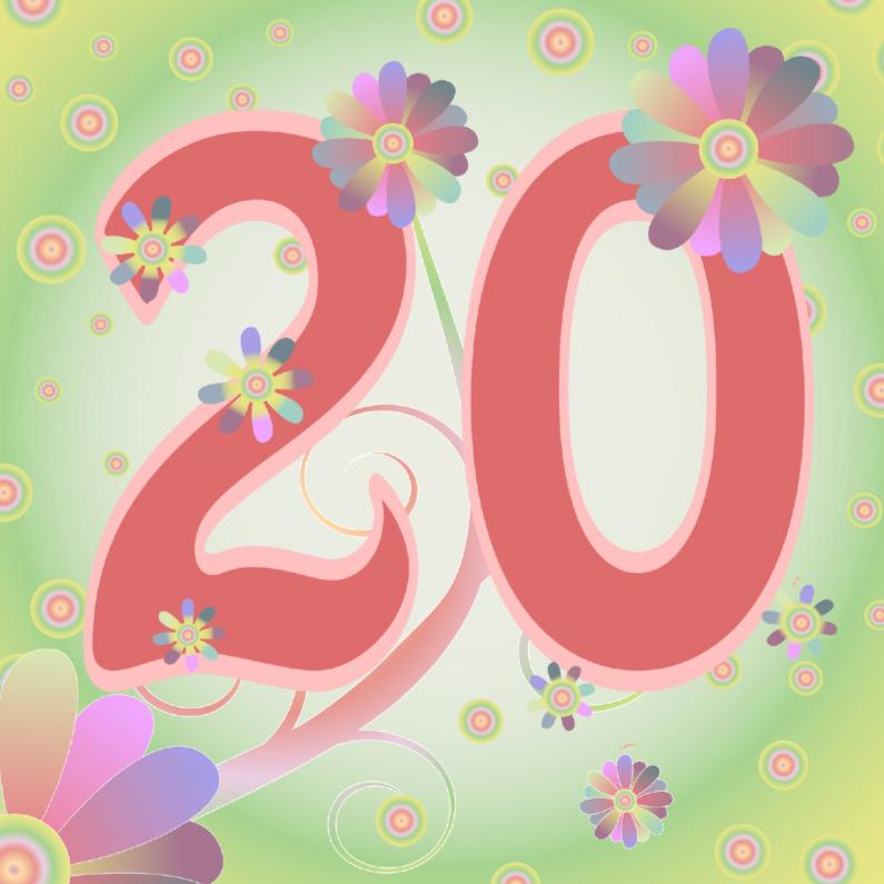 Verjaardagskaarten - flowerpower-20jaar