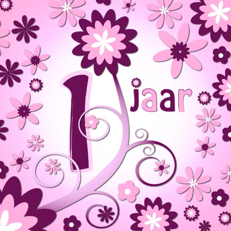 Verjaardagskaarten - flowerpower 3 - 1 jaar