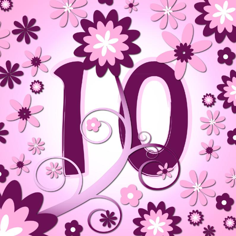 Verjaardagskaarten - flowerpower 3 - 10 jaar