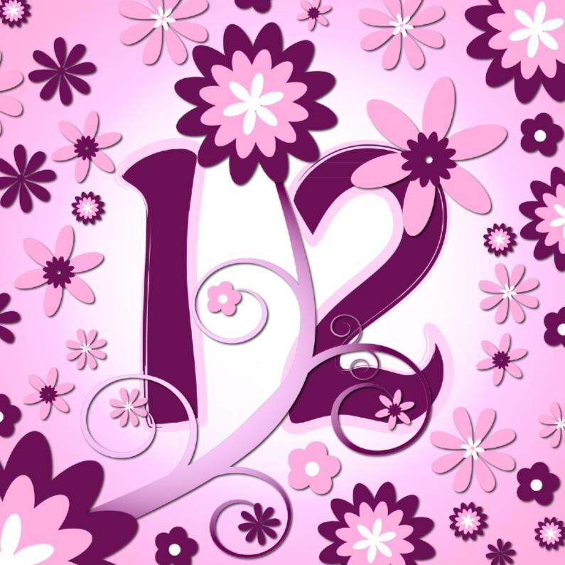Verjaardagskaarten - flowerpower 3 - 12 jaar
