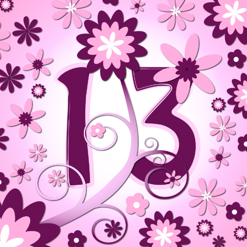 Verjaardagskaarten - flowerpower 3 - 13 jaar