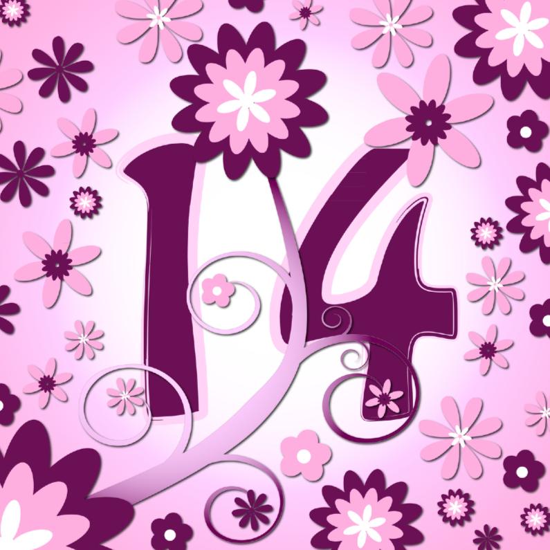 Verjaardagskaarten - flowerpower 3 - 14 jaar