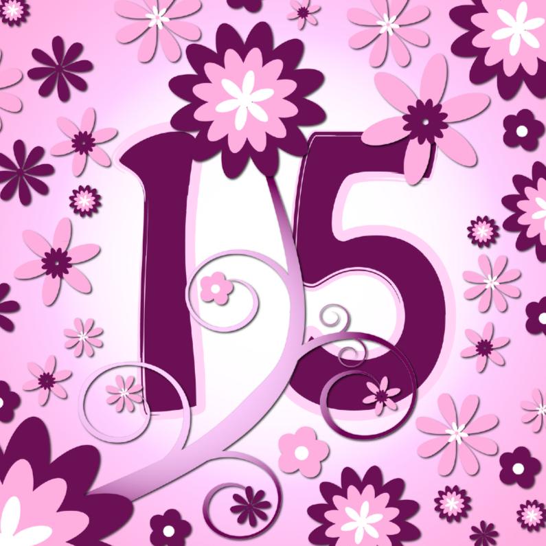 Verjaardagskaarten - flowerpower 3 - 15 jaar