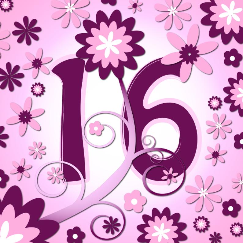 Verjaardagskaarten - flowerpower 3 - 16 jaar
