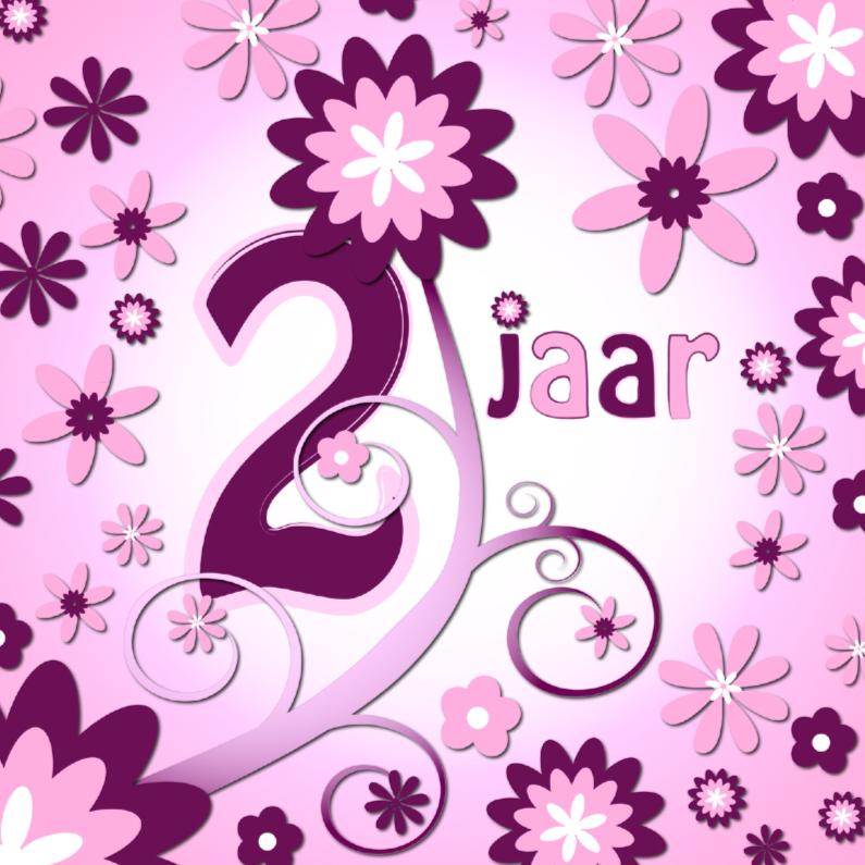 Verjaardagskaarten - flowerpower 3 - 2 jaar