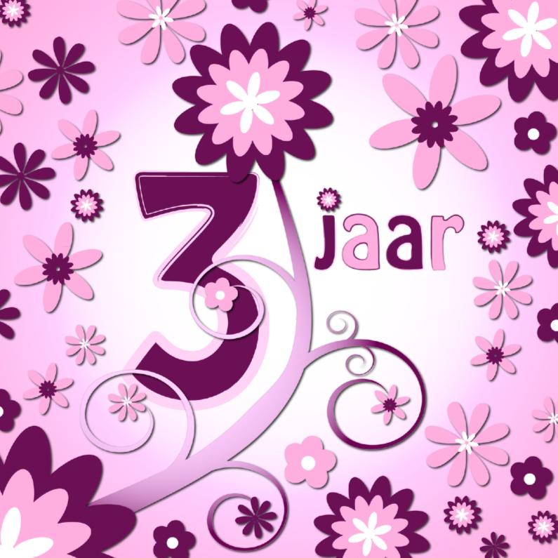 Verjaardagskaarten - flowerpower 3 - 3 jaar