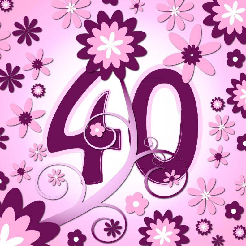 Verjaardagskaarten - flowerpower 3 - 40 jaar