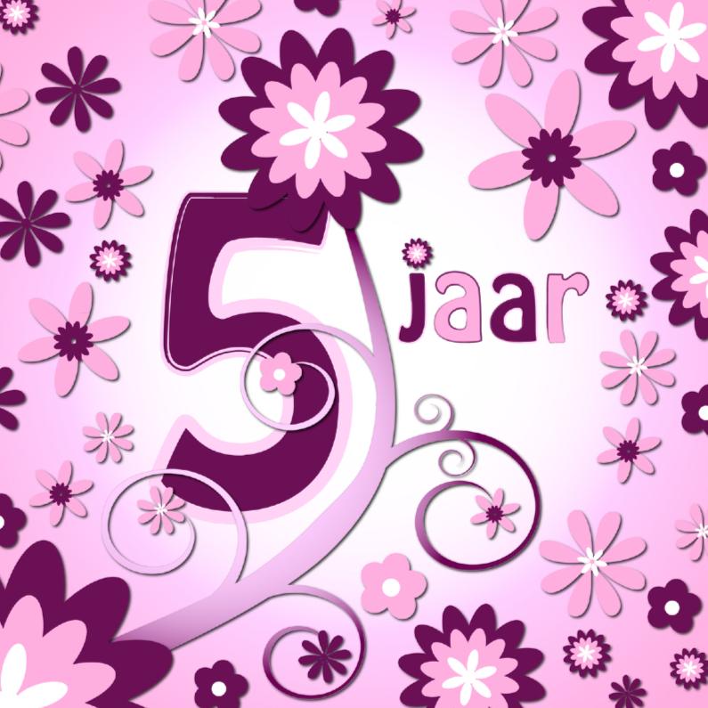 Verjaardagskaarten - flowerpower 3 - 5 jaar
