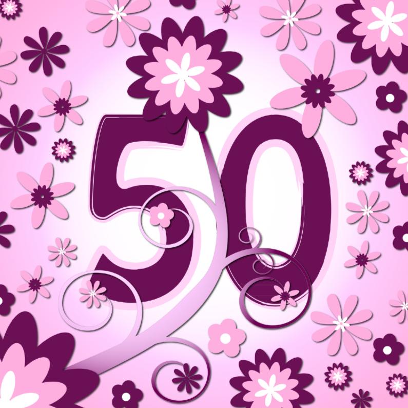 Verjaardagskaarten - flowerpower 3 - 50 jaar