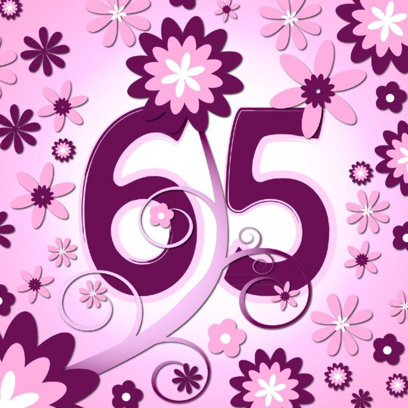 Verjaardagskaarten - flowerpower 3 - 65 jaar