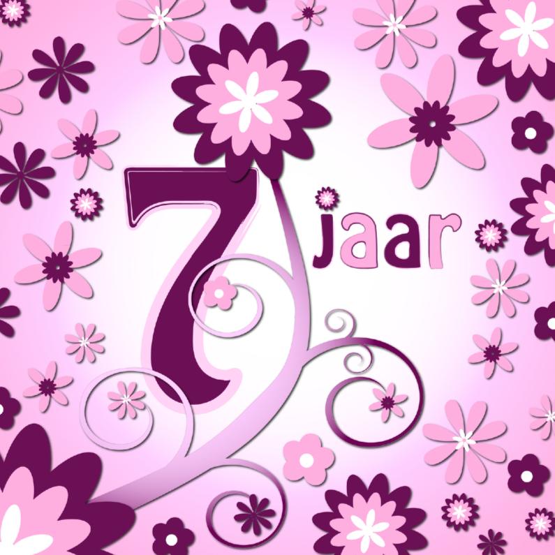 Verjaardagskaarten - flowerpower 3 - 7 jaar
