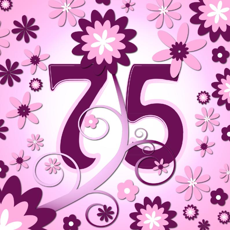 Verjaardagskaarten - flowerpower 3 - 75 jaar