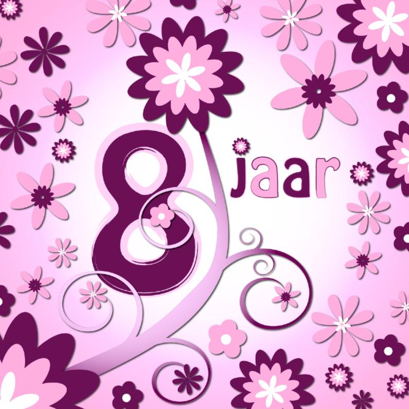 Verjaardagskaarten - flowerpower 3 - 8 jaar