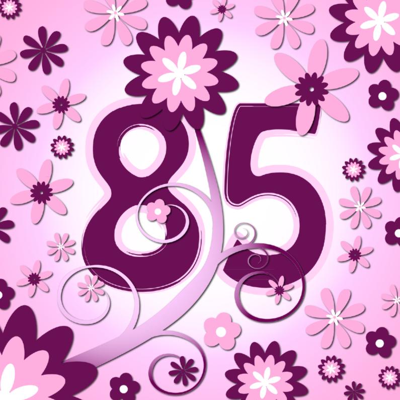 Verjaardagskaarten - flowerpower 3 - 85 jaar