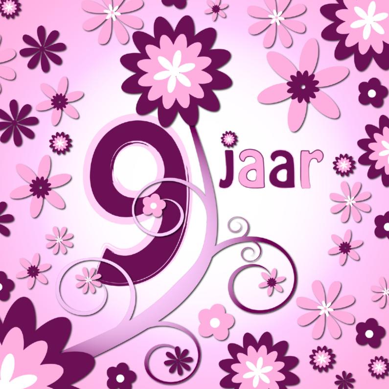 Verjaardagskaarten - flowerpower 3 - 9 jaar