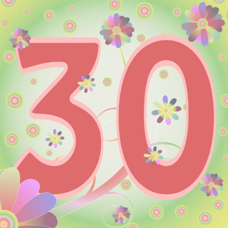 Verjaardagskaarten - flowerpower-30jaar