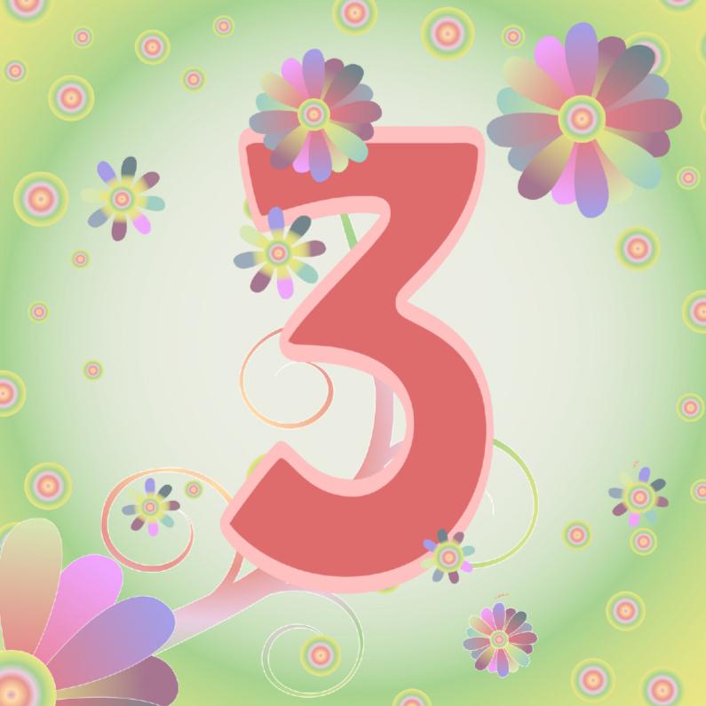 Verjaardagskaarten - flowerpower-3jaar