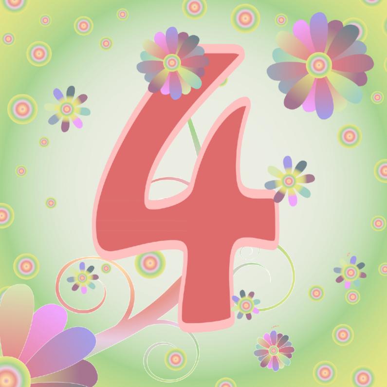 Verjaardagskaarten - flowerpower-4jaar