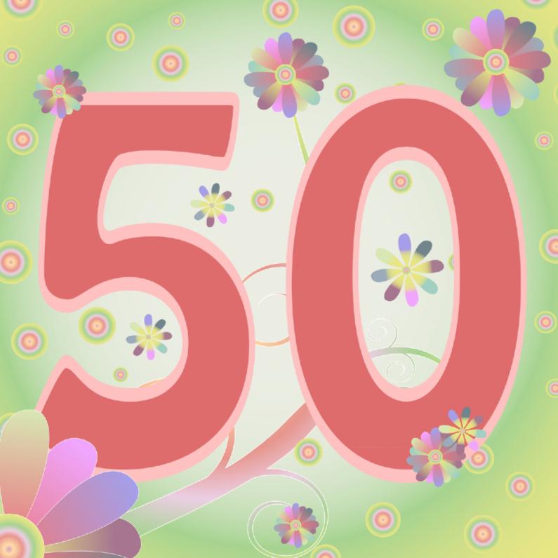 Verjaardagskaarten - flowerpower-50jaar