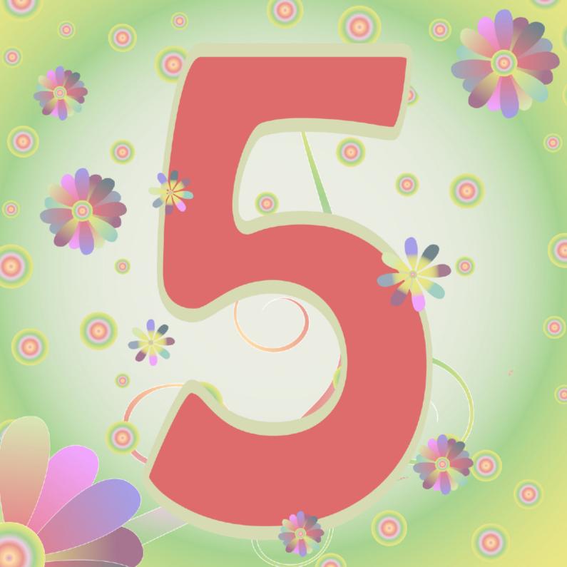 Verjaardagskaarten - flowerpower-5jaar