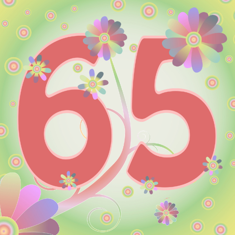 Verjaardagskaarten - flowerpower-65jaar