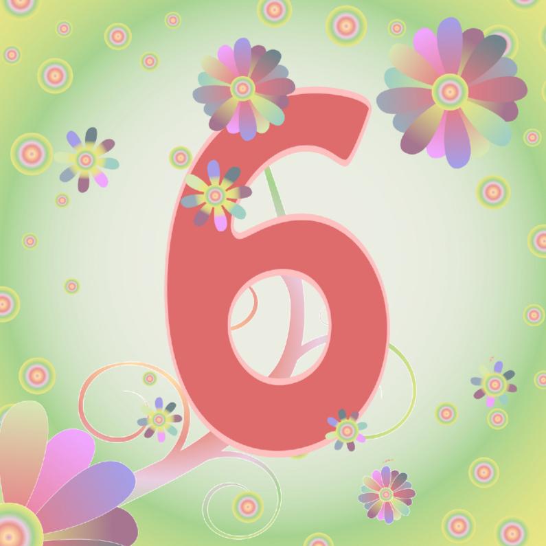 Verjaardagskaarten - flowerpower-6jaar