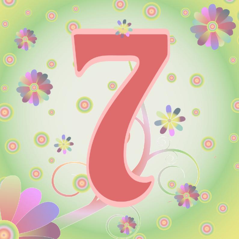 Verjaardagskaarten - flowerpower-7jaar